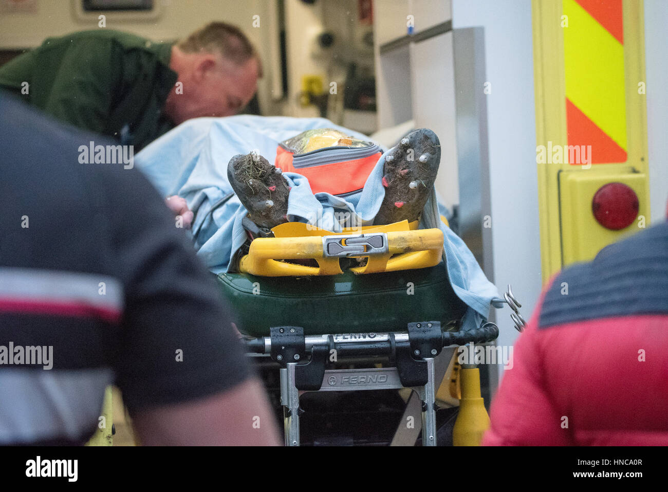 Brentwood, Essex, UK. 11th February 2017. Thurrock RFC Player is taken to hospital after a 40 minute wait for an - Stock Image