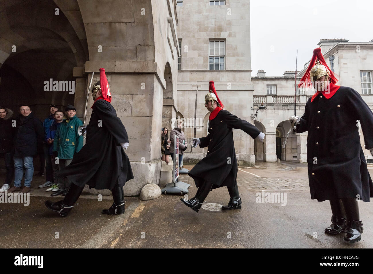 London, UK. 11th Feb, 2017. Changing of the Horse Guards at Whitehall Credit: Guy Corbishley/Alamy Live News - Stock Image