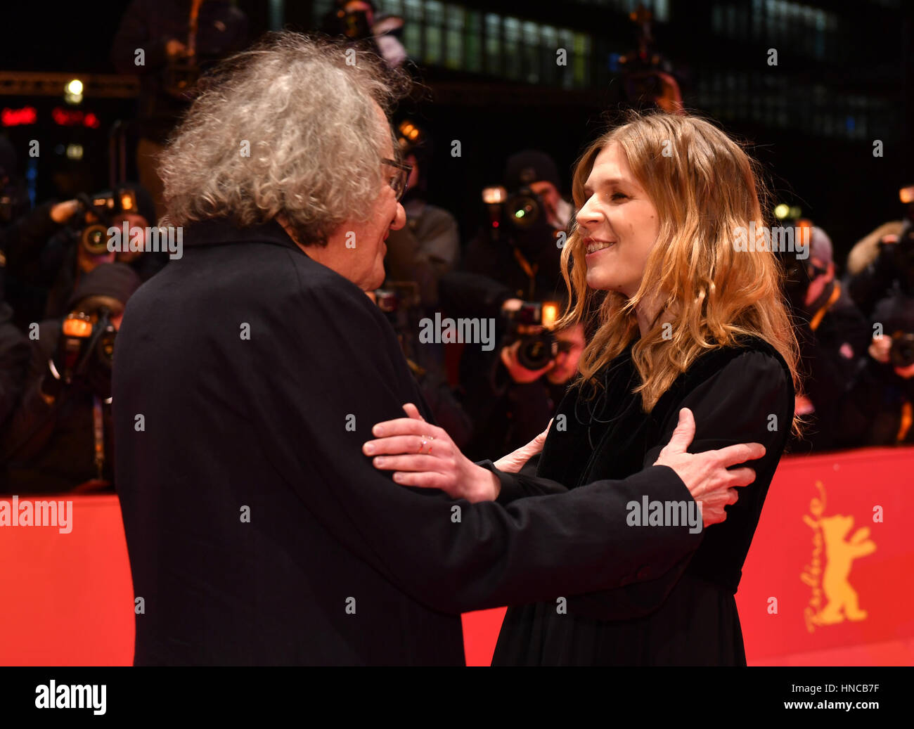 Berlin, Germany. 11th Feb, 2017. Actors Geoffrey Rush and Clemence Poesy at the premiere of US film 'Final Portrait' Stock Photo