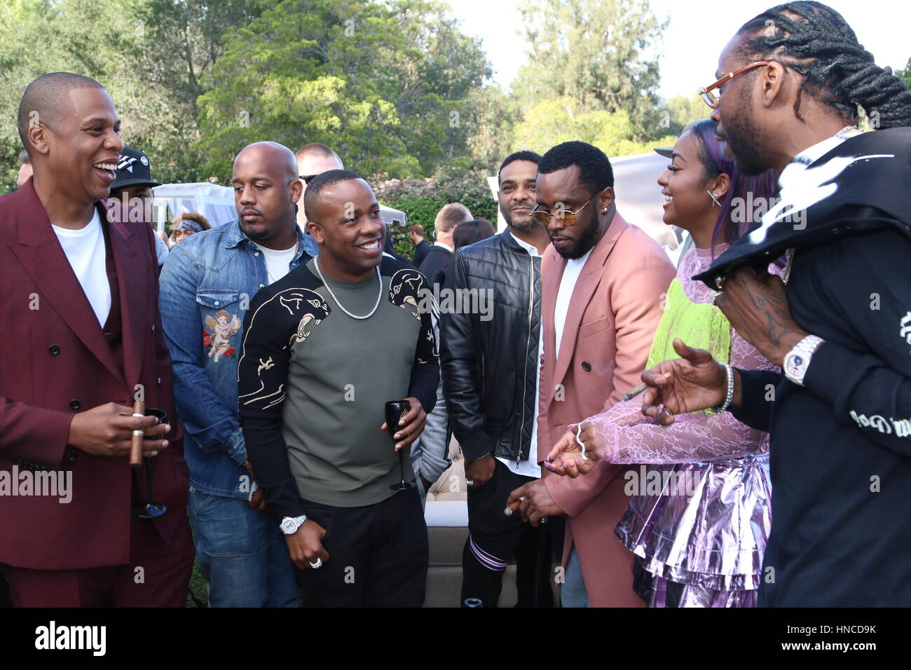 Holmby Hills, Ca. 11th Feb, 2017. Jay-Z, Sean Combs and 2 Chainz at the 2017 Roc Nation Pre-Grammy Brunch at a private - Stock Image