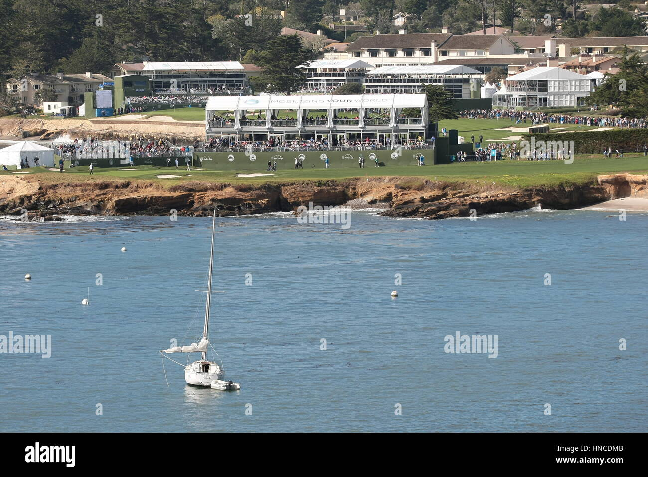 Pebble Beach, USA. 11th Feb, 2017. Pebble Beach, California, USA Pebble Beach links during the famous AT&T Pro-Am, Stock Photo