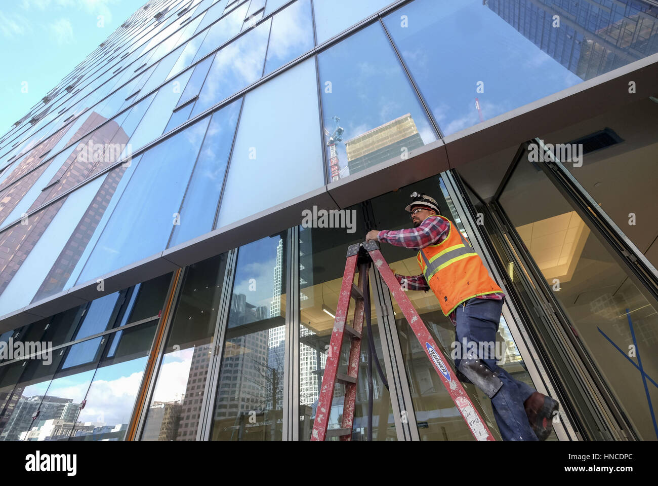 Los Angeles, California, USA. 23rd Jan, 2017. The Hotel Indigo is under construction in downtown Los Angeles. The - Stock Image