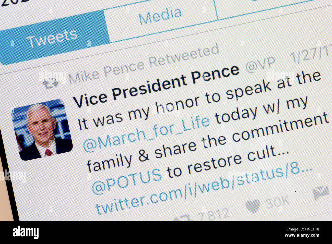 US Vice President Mike Pence Tweet on mobile phone screen - USA - Stock Image