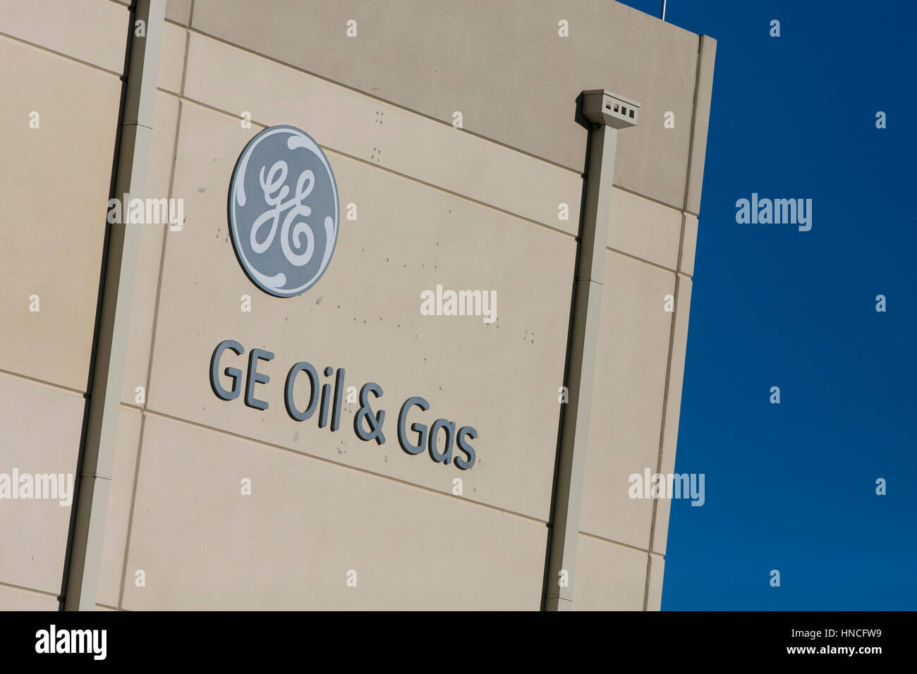 A logo sign outside of a facility occupied by GE Oil & Gas