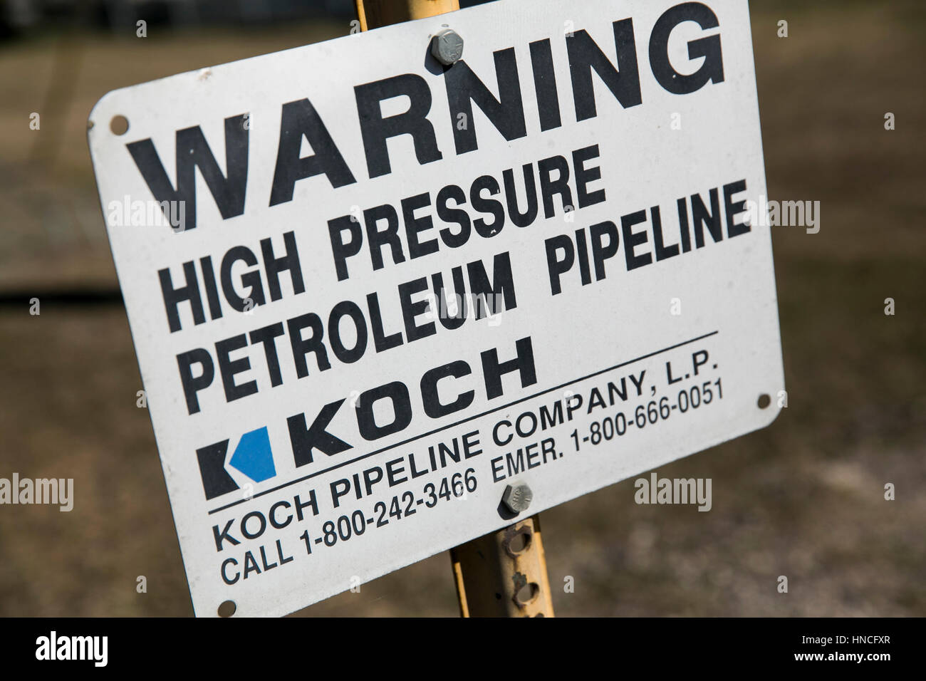 A logo sign marking the location of a Koch Pipeline Company petroleum pipeline in San Antonio, Texas on January - Stock Image
