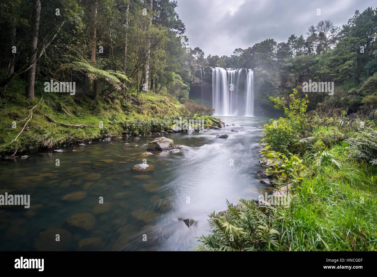 Waterfall, Rainbow Falls or Waianiwaniwa, Kerikeri River, Northland, North Island, New Zealand - Stock Image