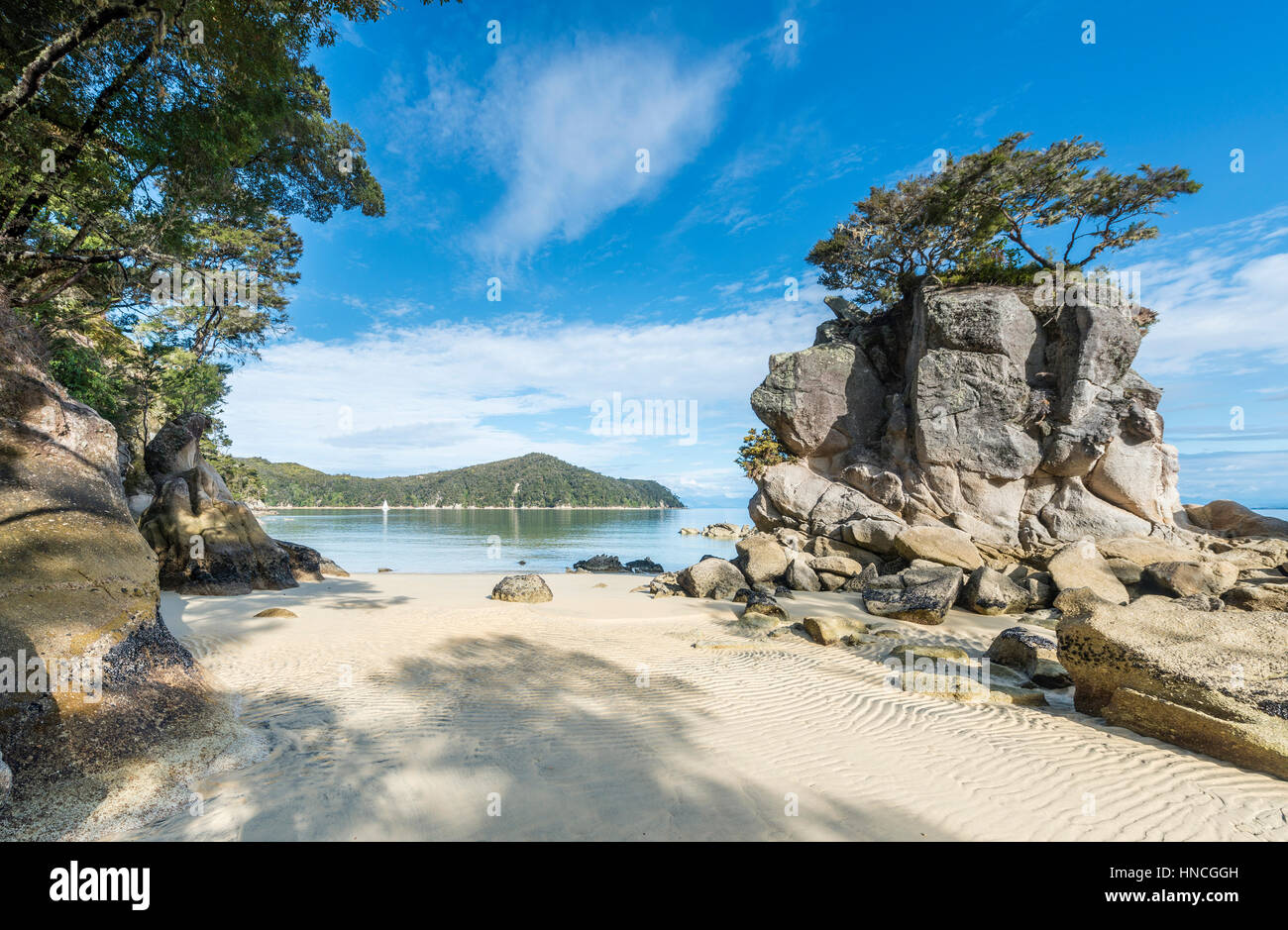 Beach, Observation Beach, Abel Tasman National Park, Tasman Region, Southland, New Zealand - Stock Image