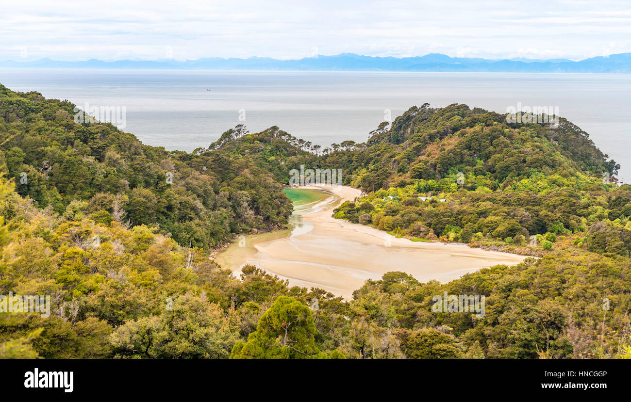 View of sea and beach, Abel Tasman National Park, Tasman Region, Southland, New Zealand - Stock Image