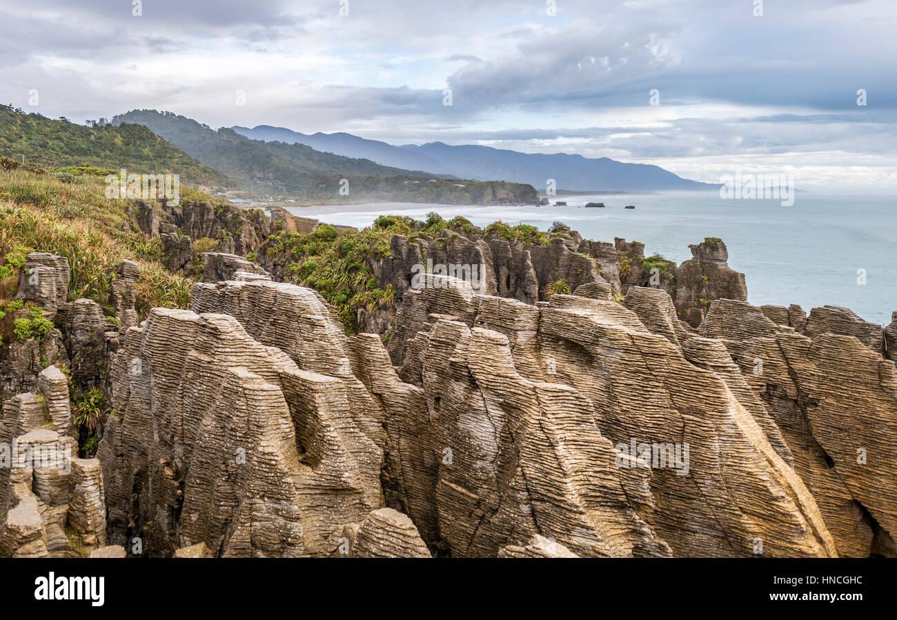 Sandstone rocks, rock formation Pancake Rocks, Paparoa National Park, Punakaiki, West Coast, New Zealand - Stock Image