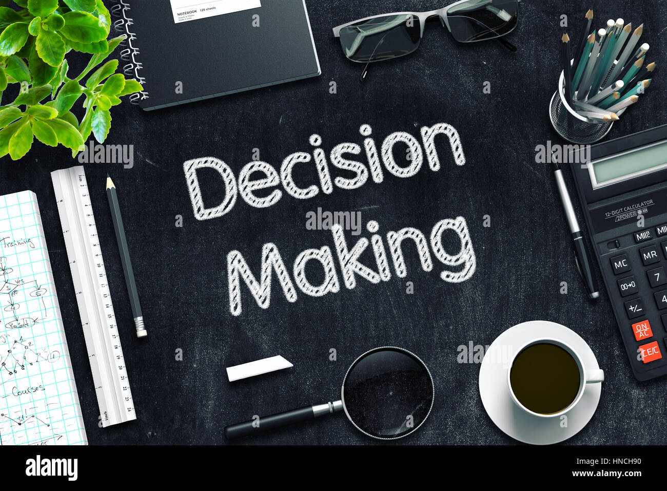 Decision Making Concept on Black Chalkboard. 3D Rendering. Stock Photo