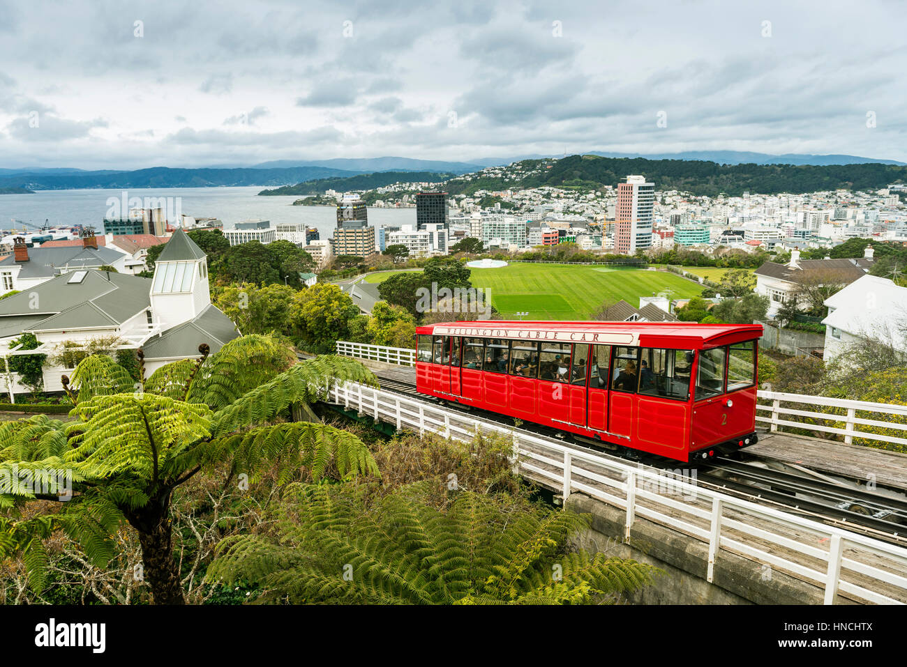 Historic cog railway, Wellington Cable Car, Wellington Region, North Island, New Zealand - Stock Image