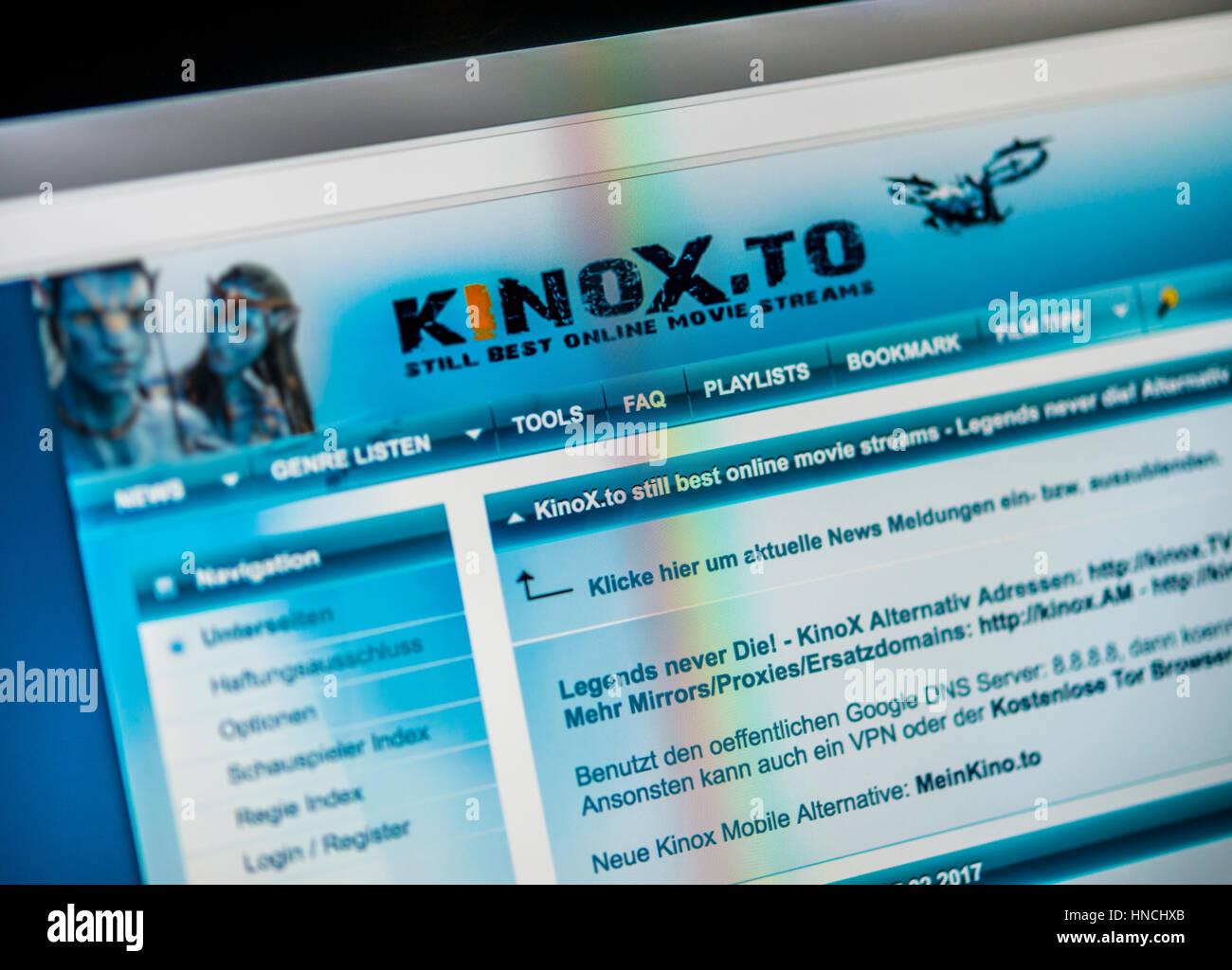 Kinox, Kinox.to, German illegal streaming page, copyright infringement, homepage, logo, internet, Screenshot - Stock Image