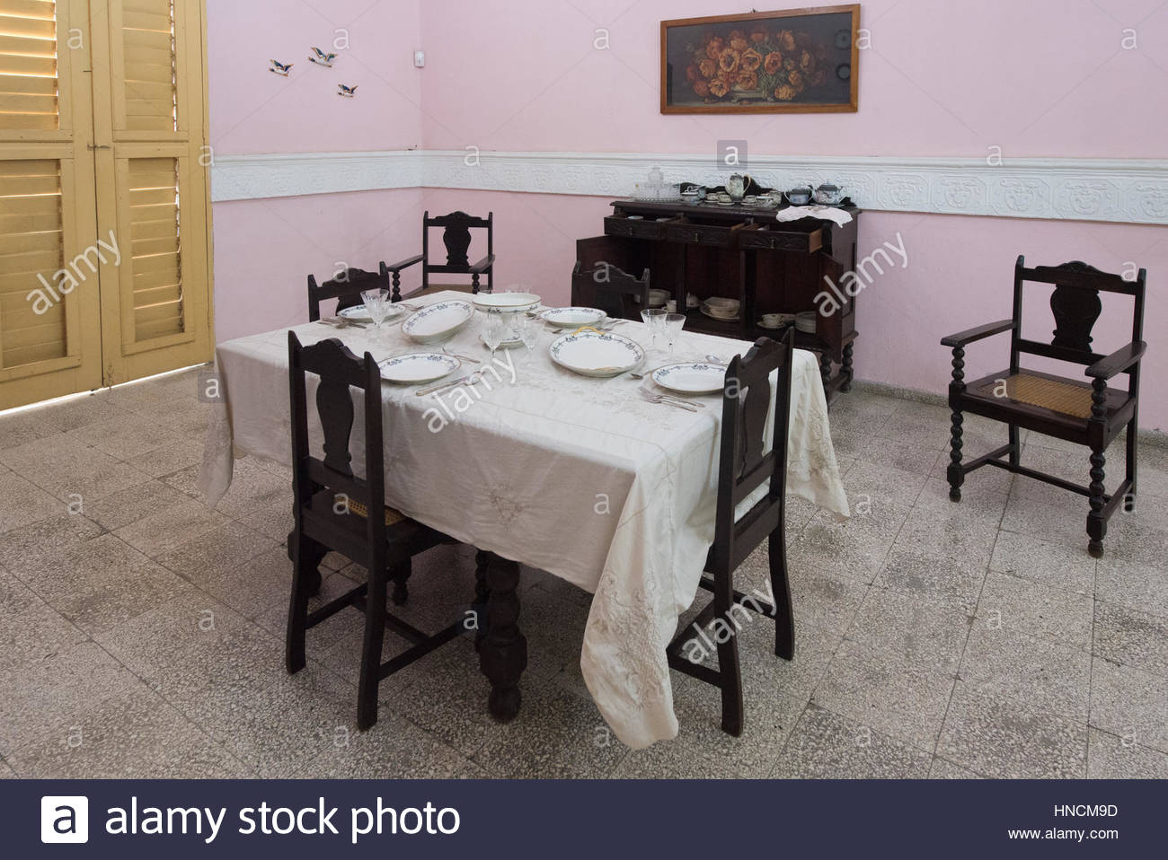 Cuban Colonial Dining Room Furniture, Table Set At The Style Of The Epoch.  Cuban Conservation Of Old Items And Its History Is A Tourist Attraction In