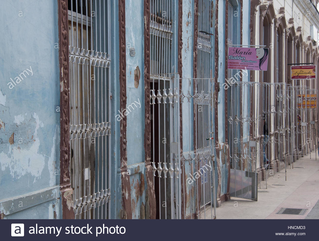 row of old weathered house entrance doors with metallic guards