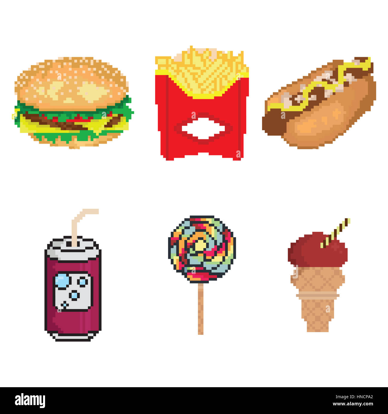 Pixel junk food icon set - Stock Image