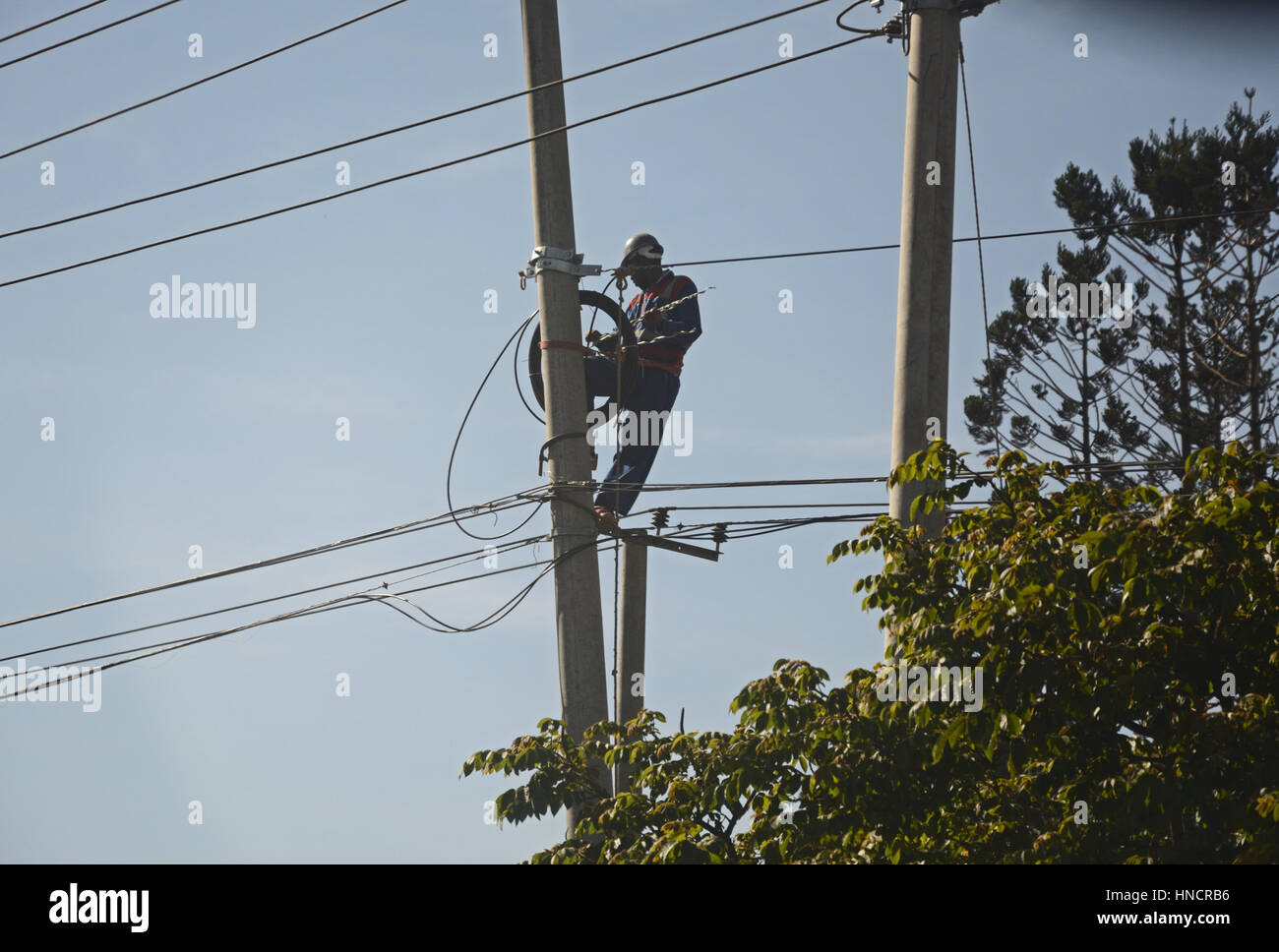 Electricity worker on pole,  Nairobi, Kenya - Stock Image