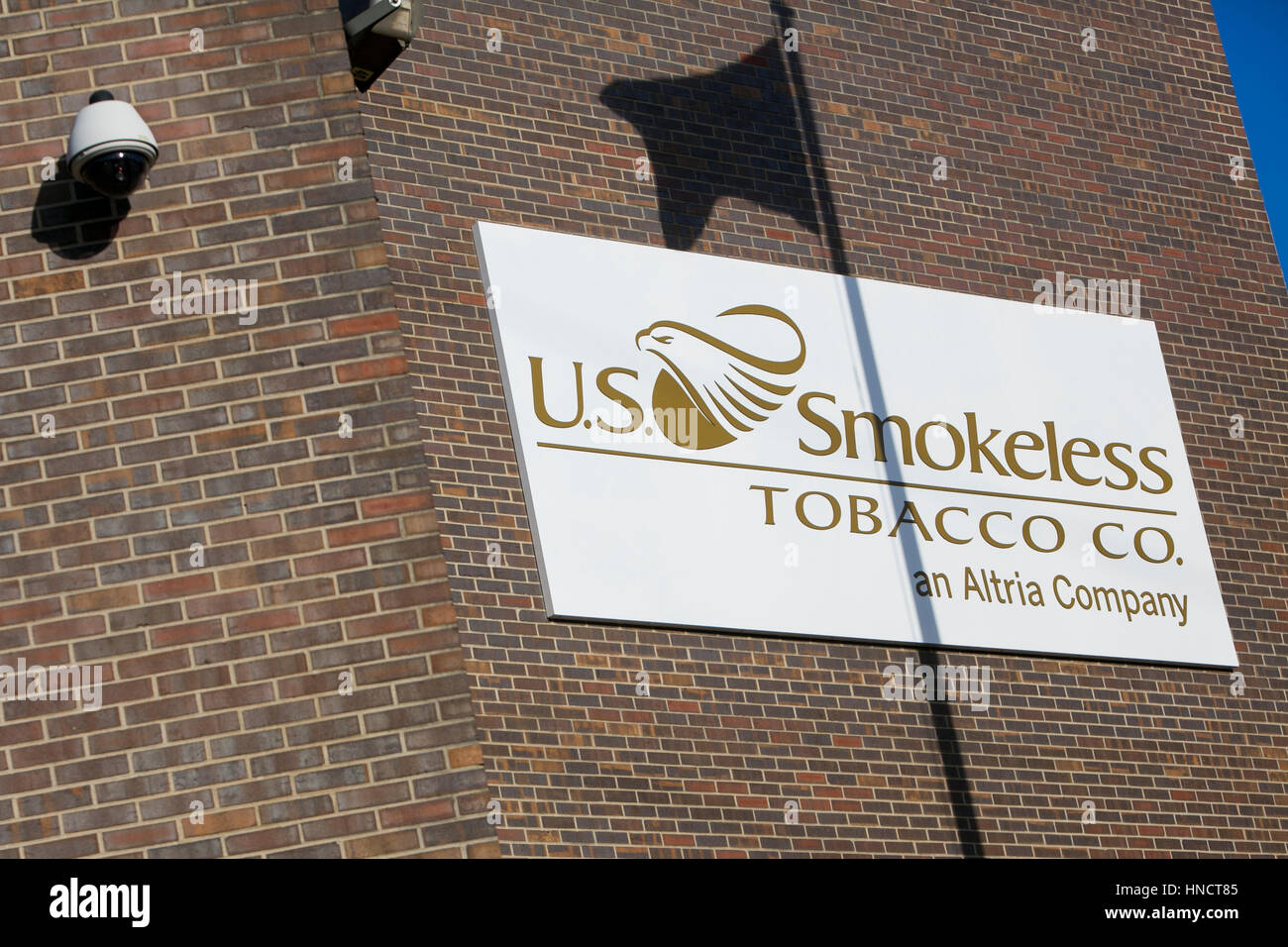 A logo sign outside of a facility occupied by the U.S. Smokeless Tobacco Company in Nashville, Tennessee on February - Stock Image