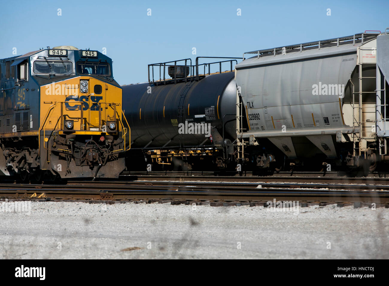 CSX Locomotives and train cars on a railroad siding in Nashville, Tennessee on February 4, 2017. - Stock Image