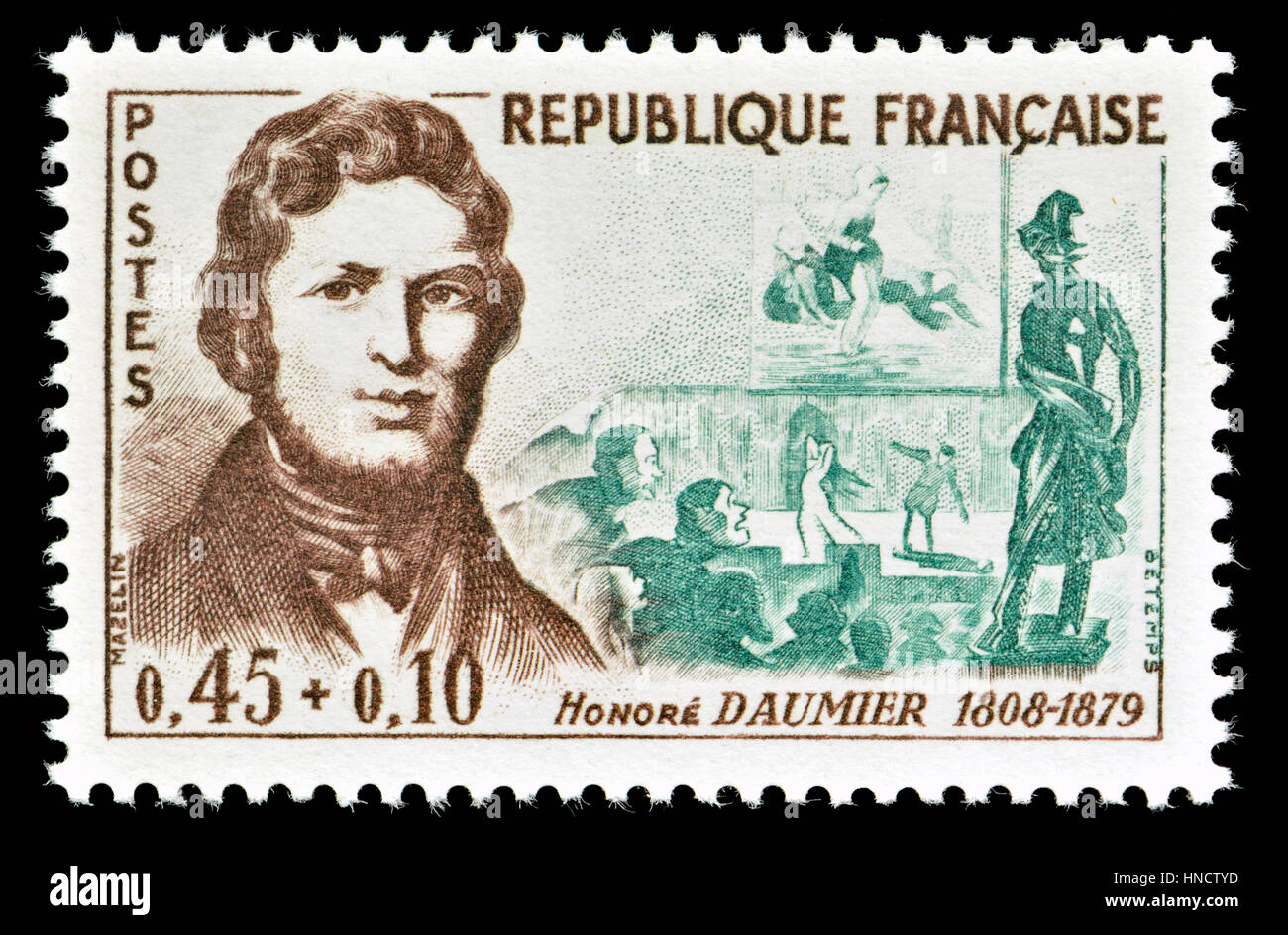 French postage stamp (1961): Honoré-Victorin Daumier (1808 – 1879) French printmaker, caricaturist, painter, - Stock Image