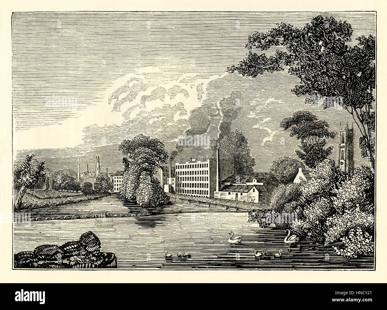 Lombe's Mill (also known as the Italian Works), Derby, – an old engraving c. 1750 - Stock Image