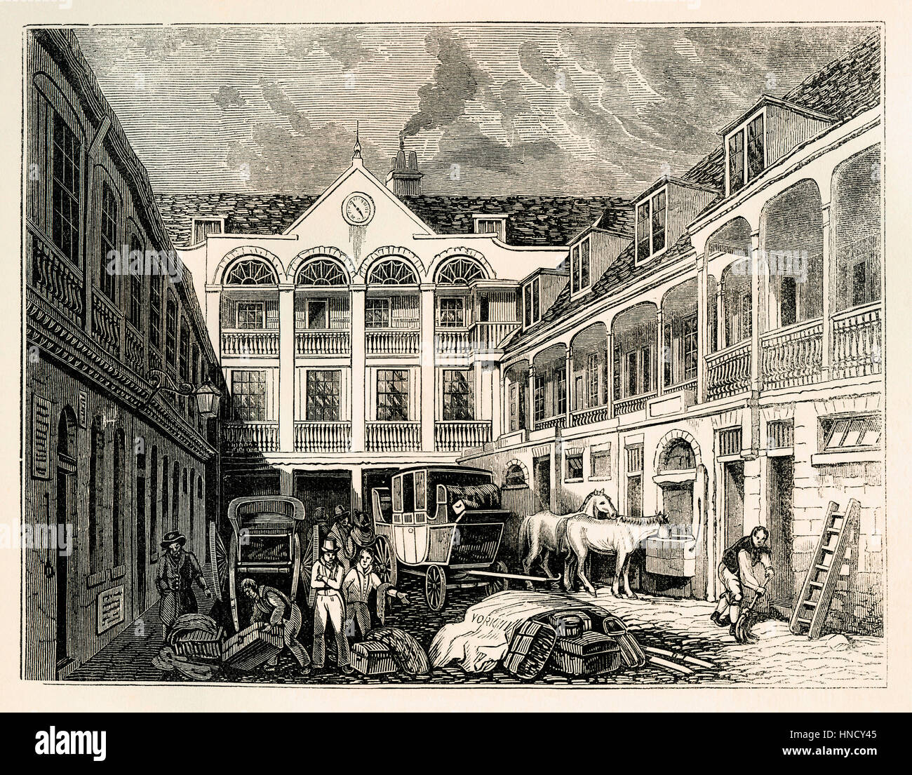 The courtyard of the Old Blue Boar tavern in Holborn, London, England, – an old engraving c. 1700 - Stock Image
