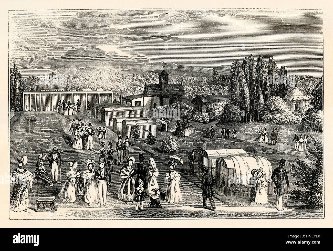 The Zoological Gardens, Regents Park, London – an old engraving c. 1830 Stock Photo