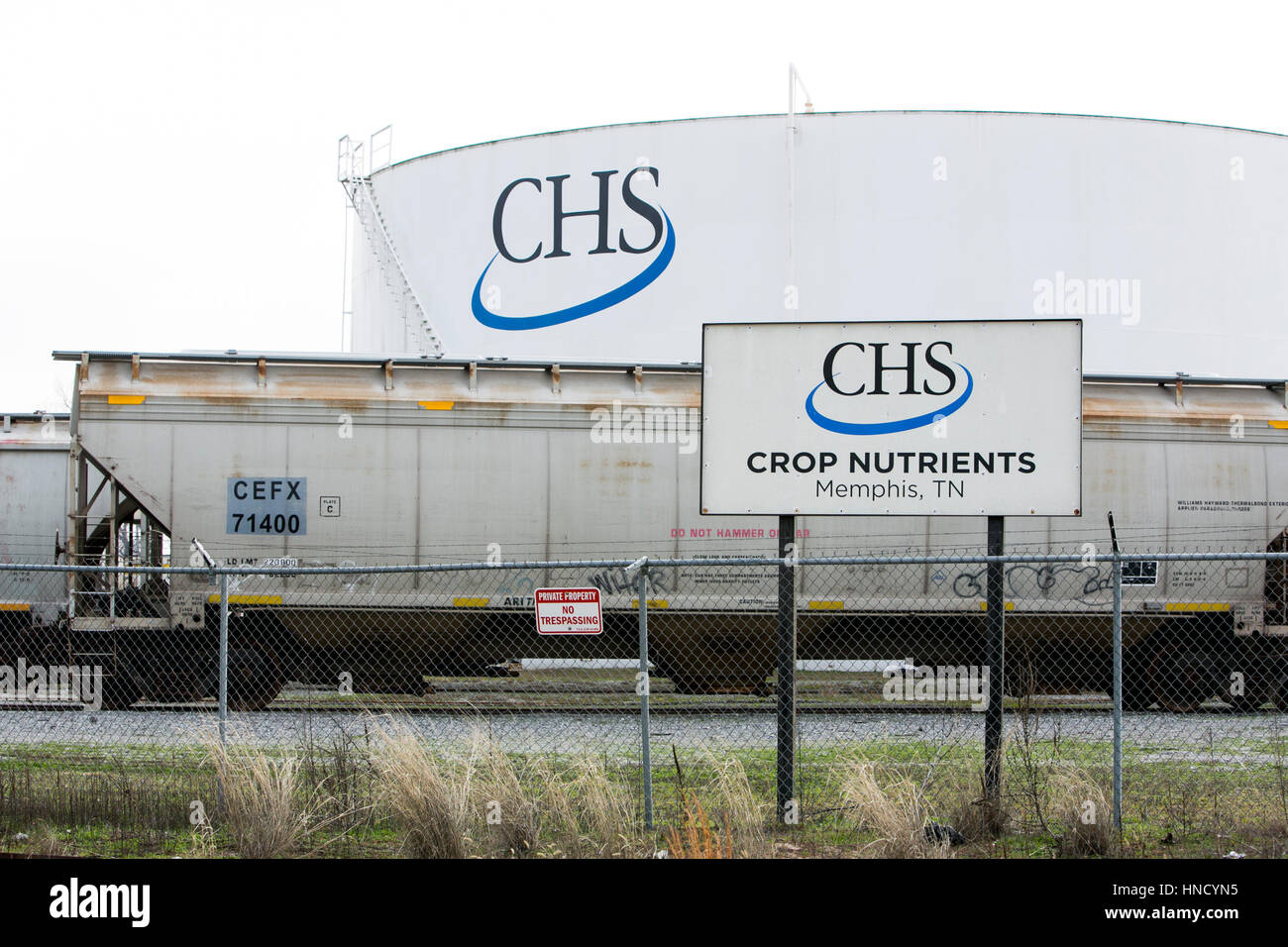 A logo sign outside of a facility occupied by CHS Inc., in Memphis, Tennessee on February 5, 2017. - Stock Image