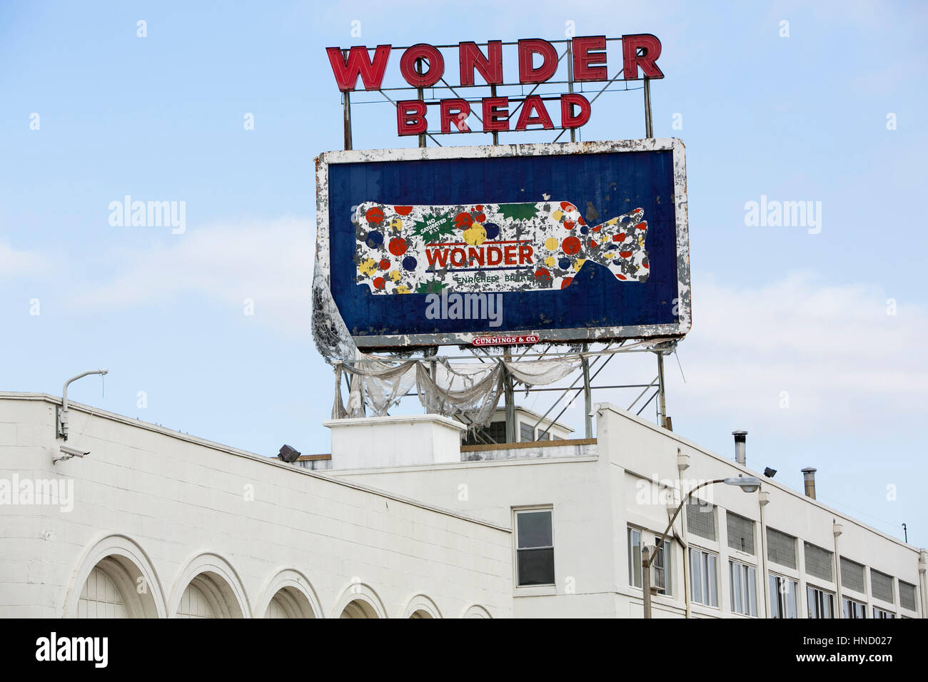 A logo sign outside of the abandoned Wonder Bread and Hostess Cake factory in Memphis, Tennessee on February 5, - Stock Image