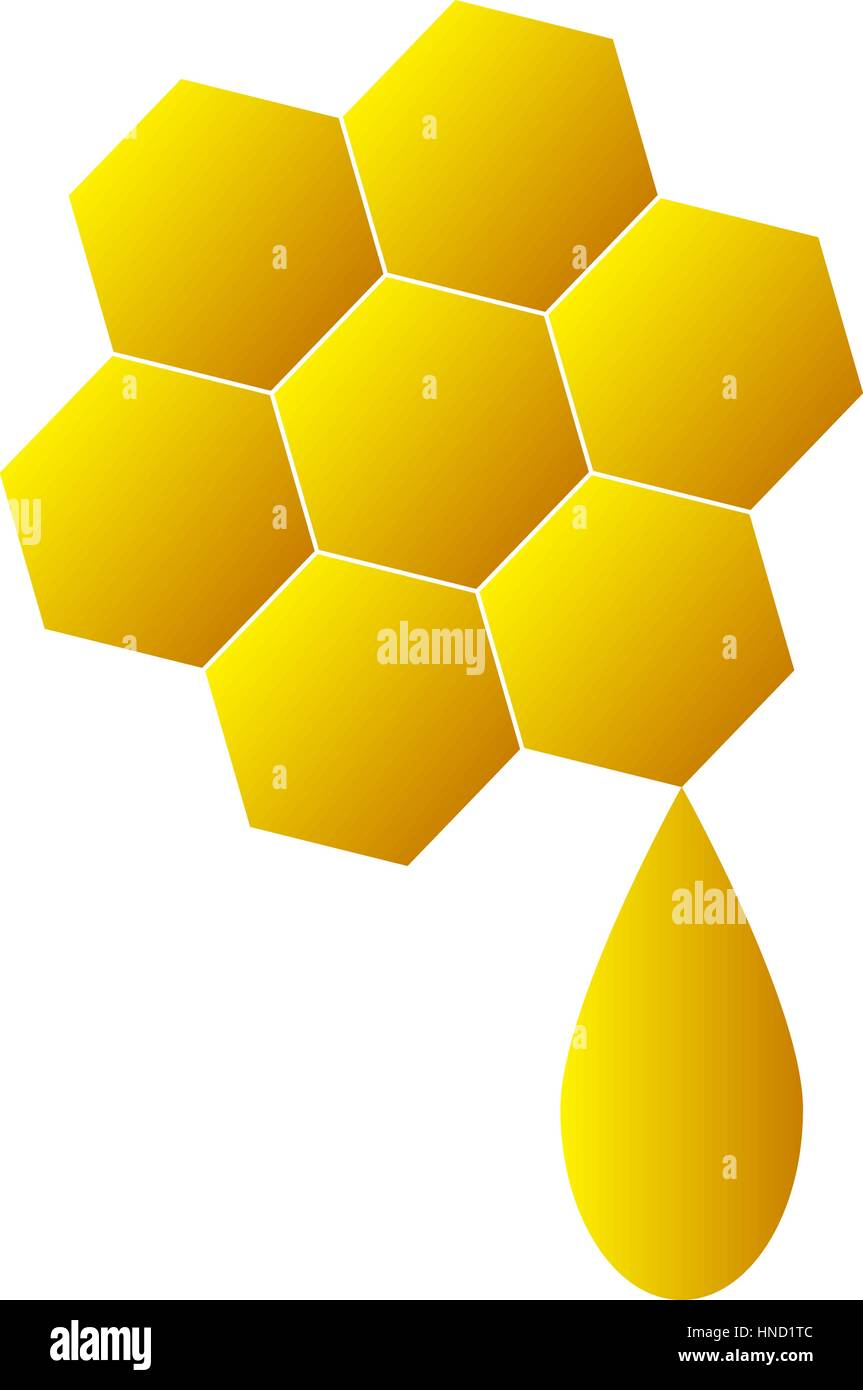 Honeycomb logo for company business. Isolated honeycomb icon on white background. Sweet honey on honeycomb. Flat Stock Vector