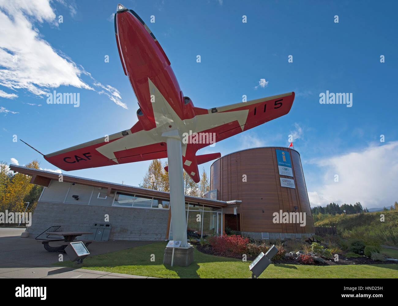 A Snowbird CT-114 on display at the Comox information centreHighway 19 at the Comox Valley Parkway on Vancouver Stock Photo