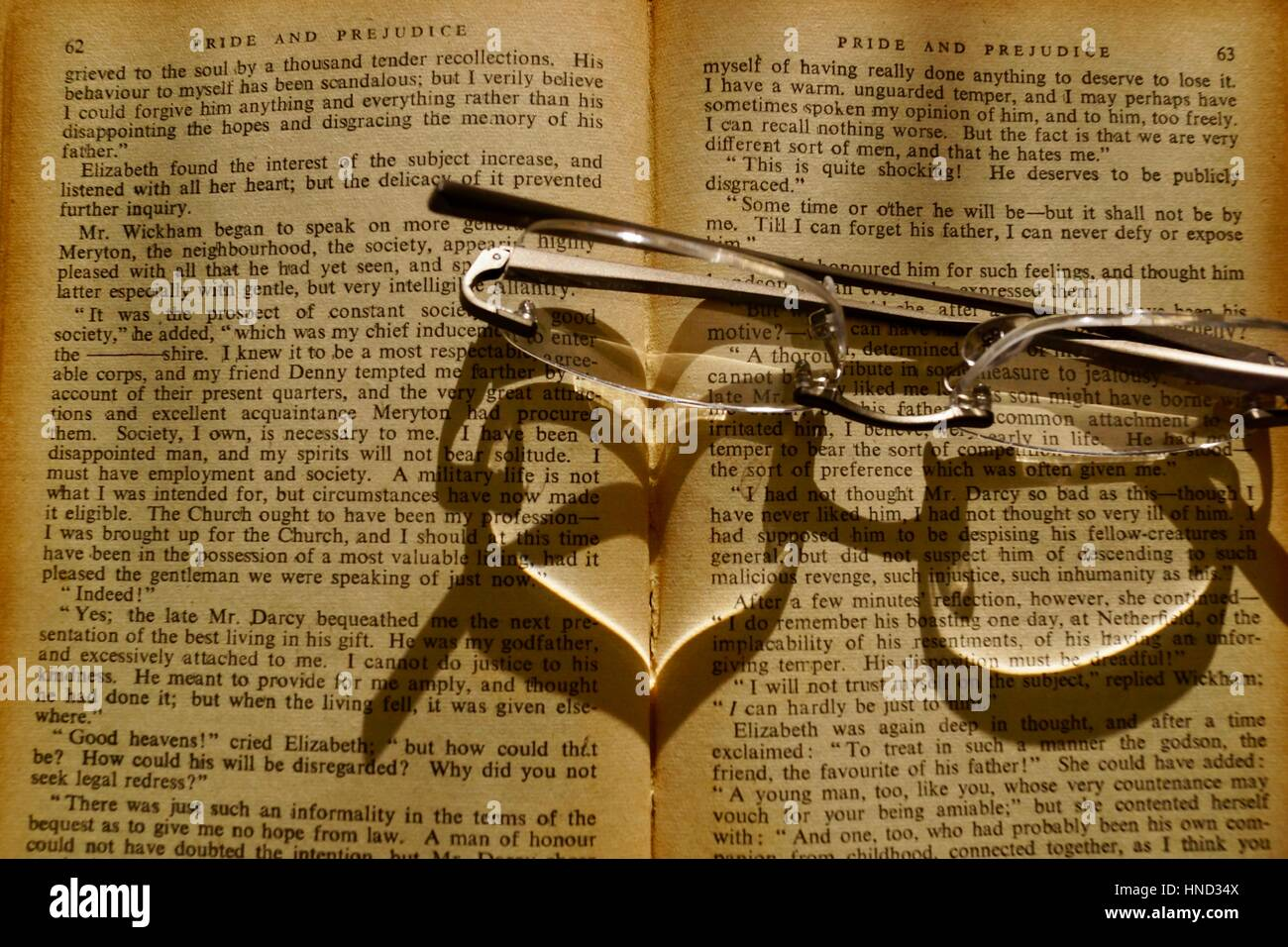 Pride and prejudice read with love - Stock Image