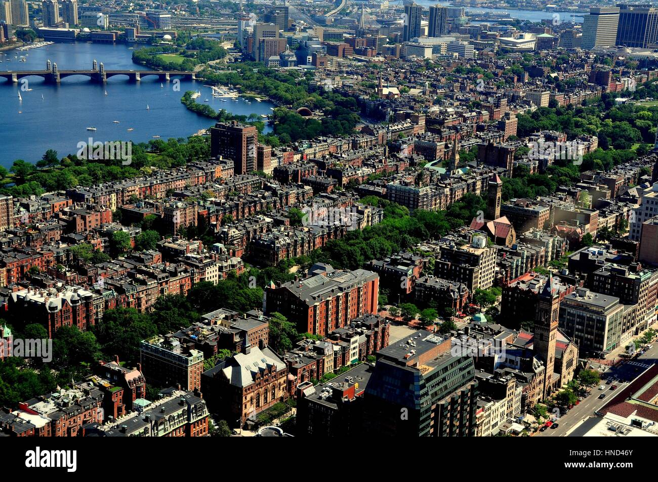 Boston, Massachusetts - July 13, 2013:  View over 19th century Back Bay and Beacon Hill neighbourhoods with the - Stock Image