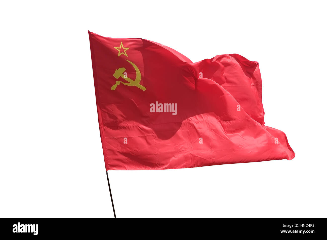 The flag of the Soviet Union waving in the The flag Red Stock Photo
