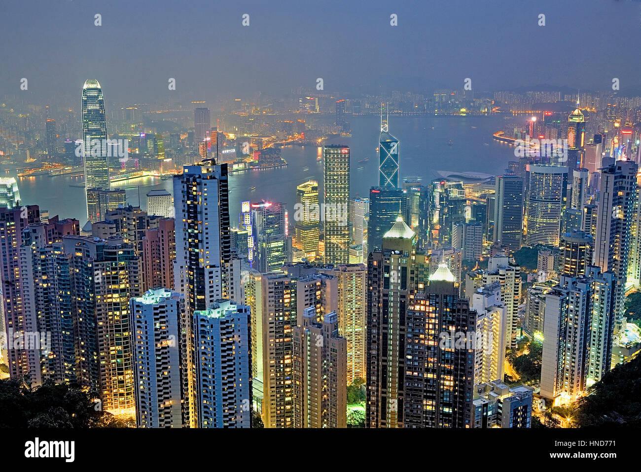 Night, Cityscape from the Peak,Hong Kong, China - Stock Image