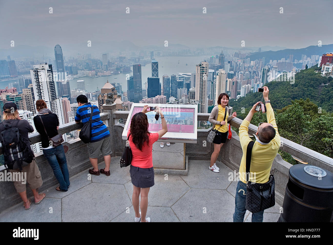 Cityscape from the Peak. Victoria Peak viewpoint,Hong Kong, China - Stock Image