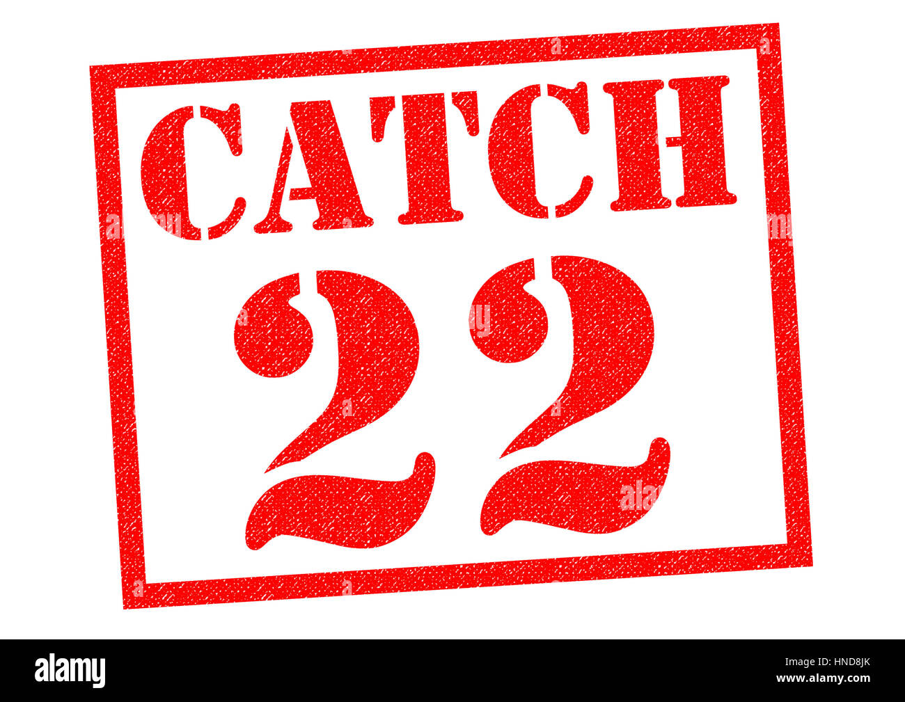 CATCH 22 red Rubber Stamp over a white background. Stock Photo
