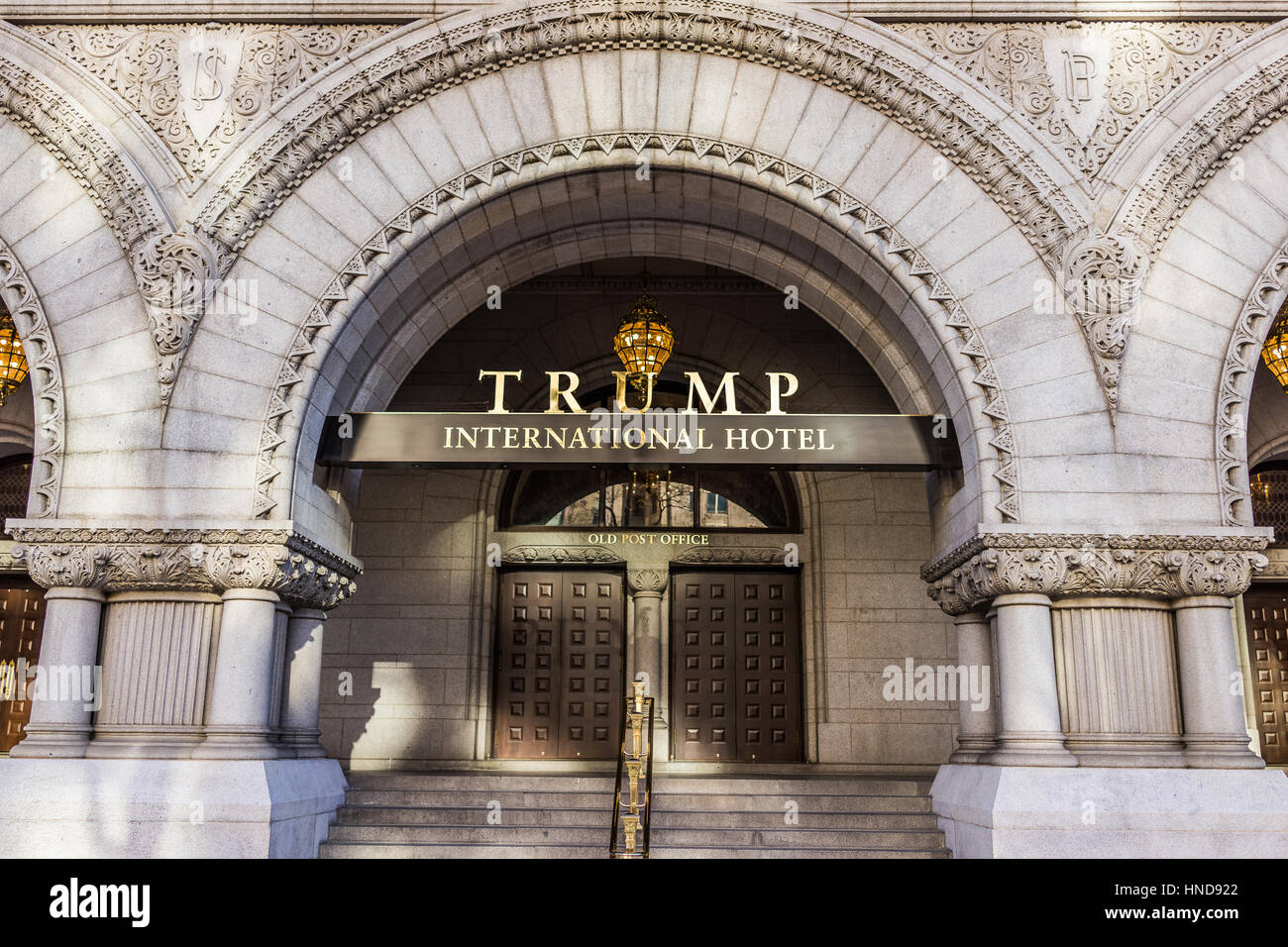 Washington DC, USA - January 28, 2017: Trump International Hotel and the Old Post Office Tower entrance - Stock Image
