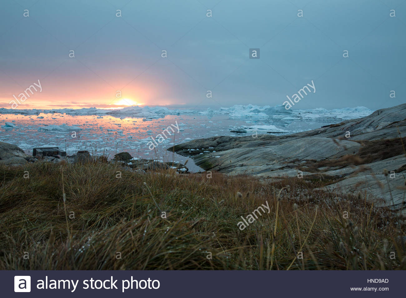 Greenland Sunset from the Icefjord - Stock Image