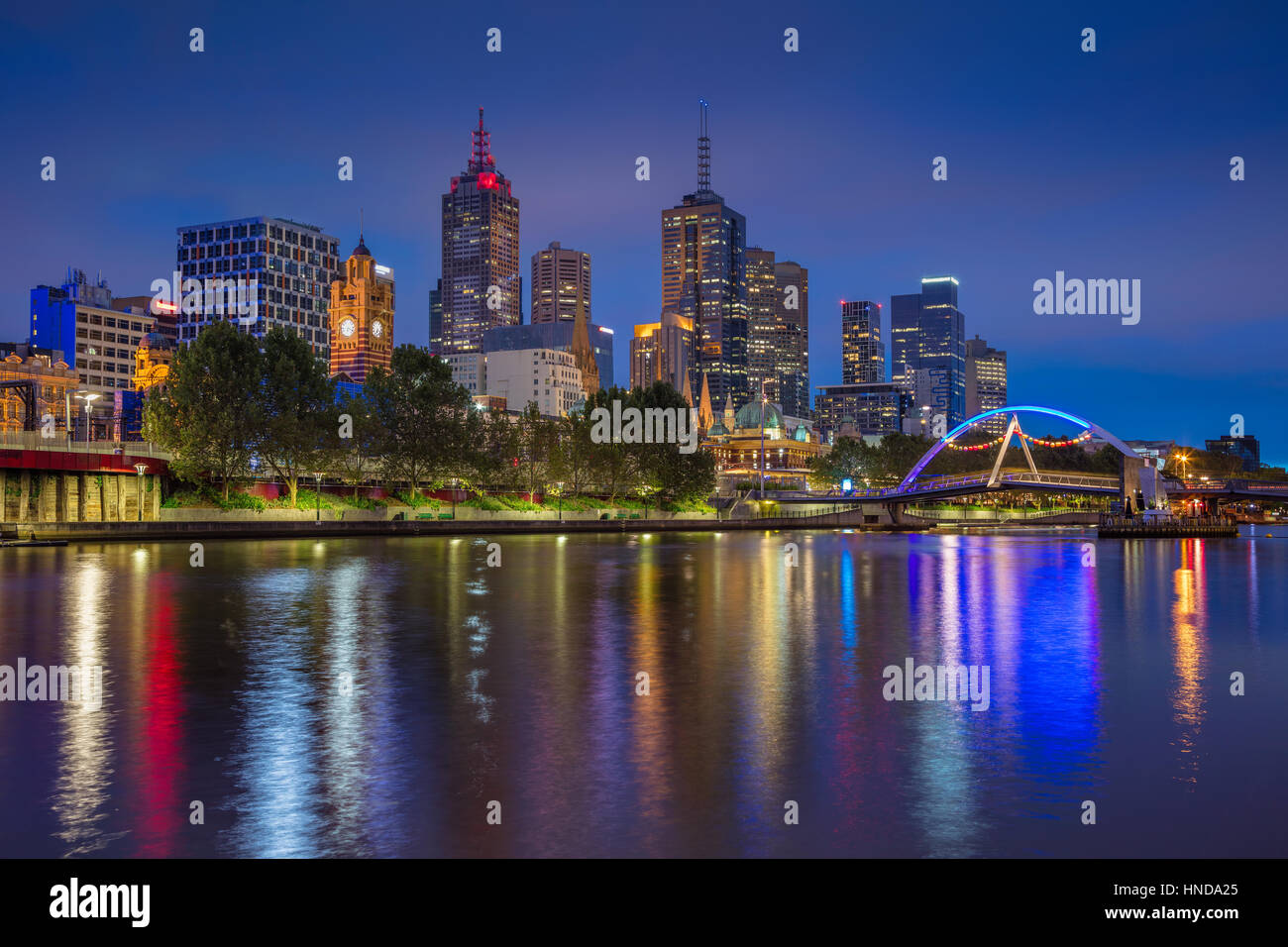 City of Melbourne. Cityscape image of Melbourne, Australia during twilight blue hour. - Stock Image