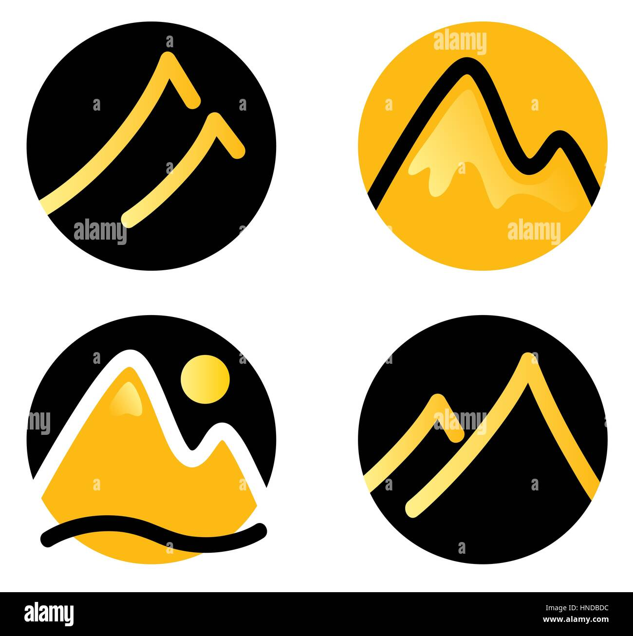 Hill in circles / Original icons set, Corporate identity - Stock Image
