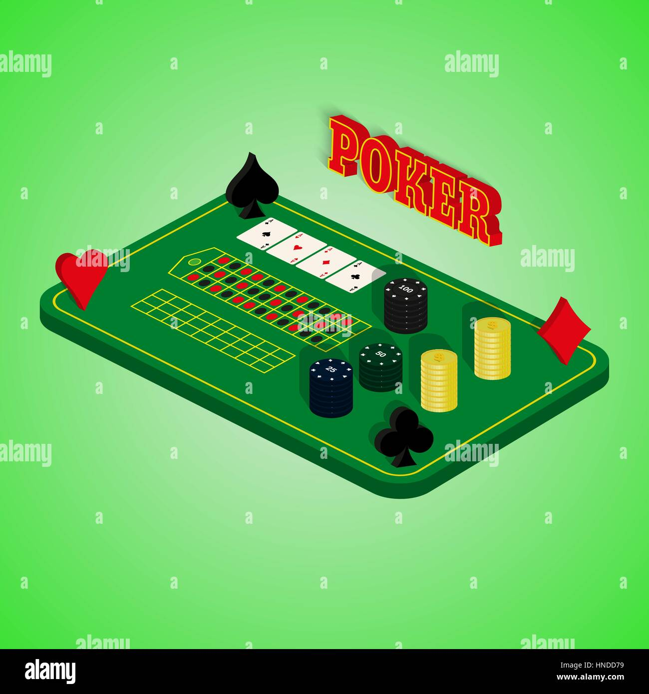 Casino set on a green background. Game table with a combination of cards, chips, money. Four of a Kind. Vector illustration Stock Vector