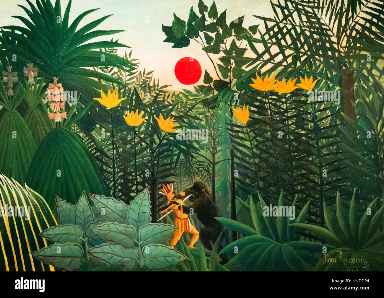 Henri Rousseau painting. 'Tropical Landscape: American Indian Struggling with a Gorilla'  by Henri Rousseau - Stock Image