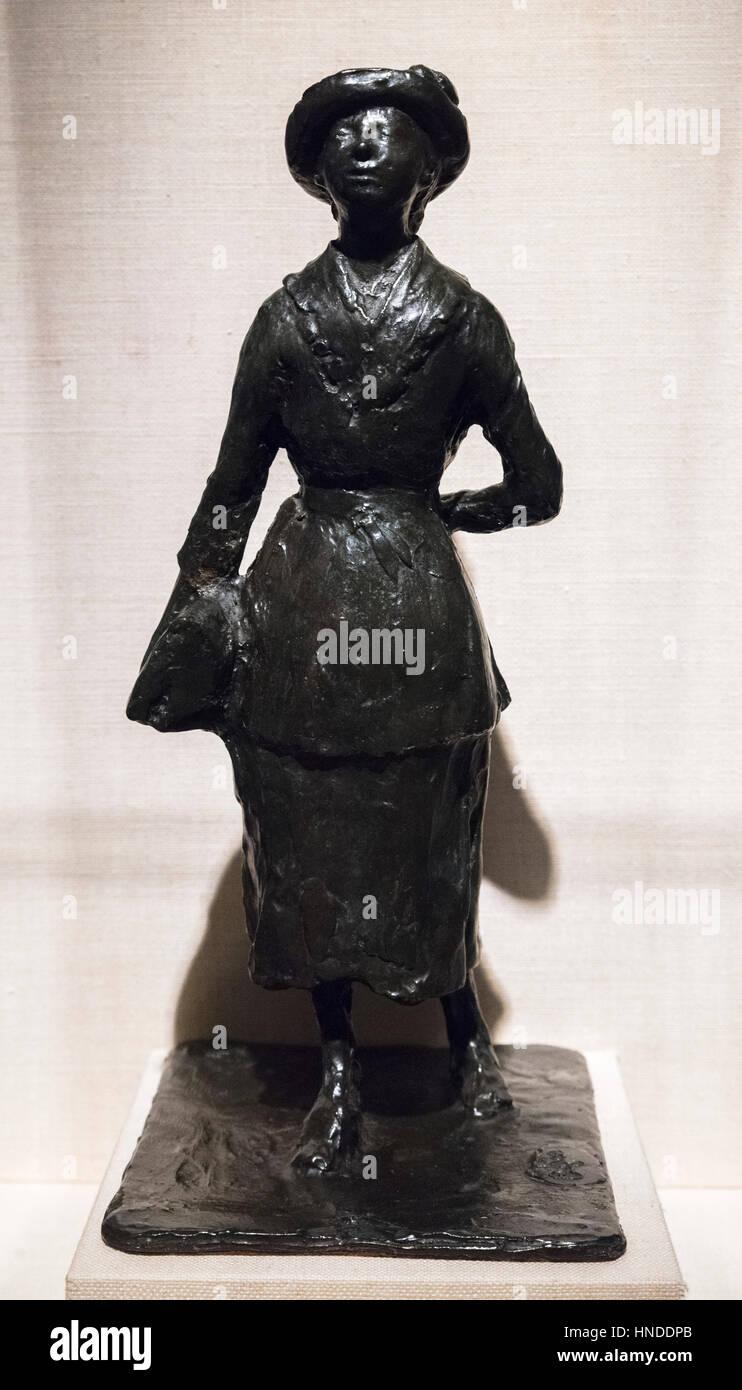 Degas Bronze Statuette. 'Schoolgirl (Woman Walking in the Street)'  by Edgar Degas  (1834-1917), cast in - Stock Image