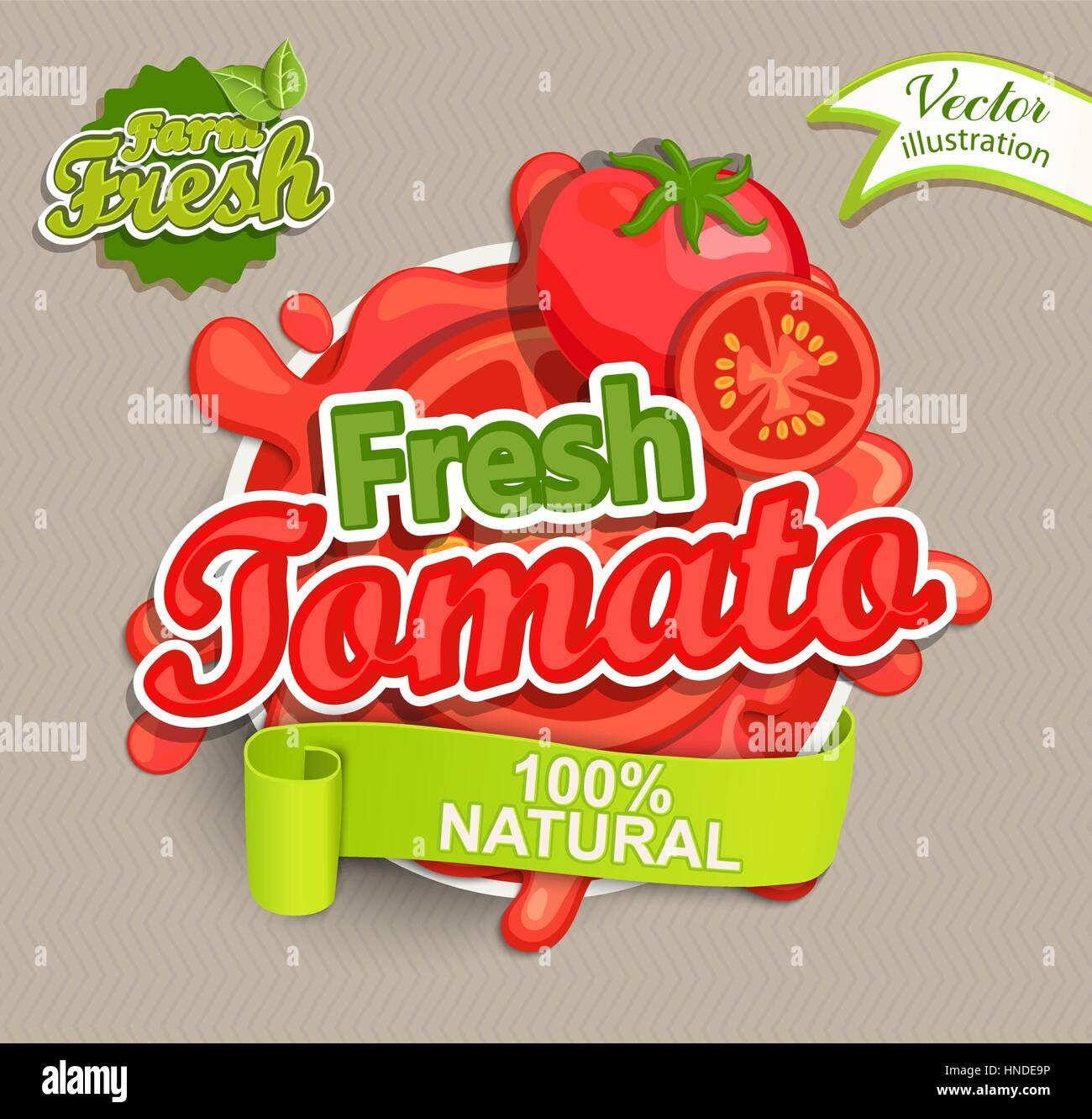 Fresh tomato logo lettering typography food label or sticker