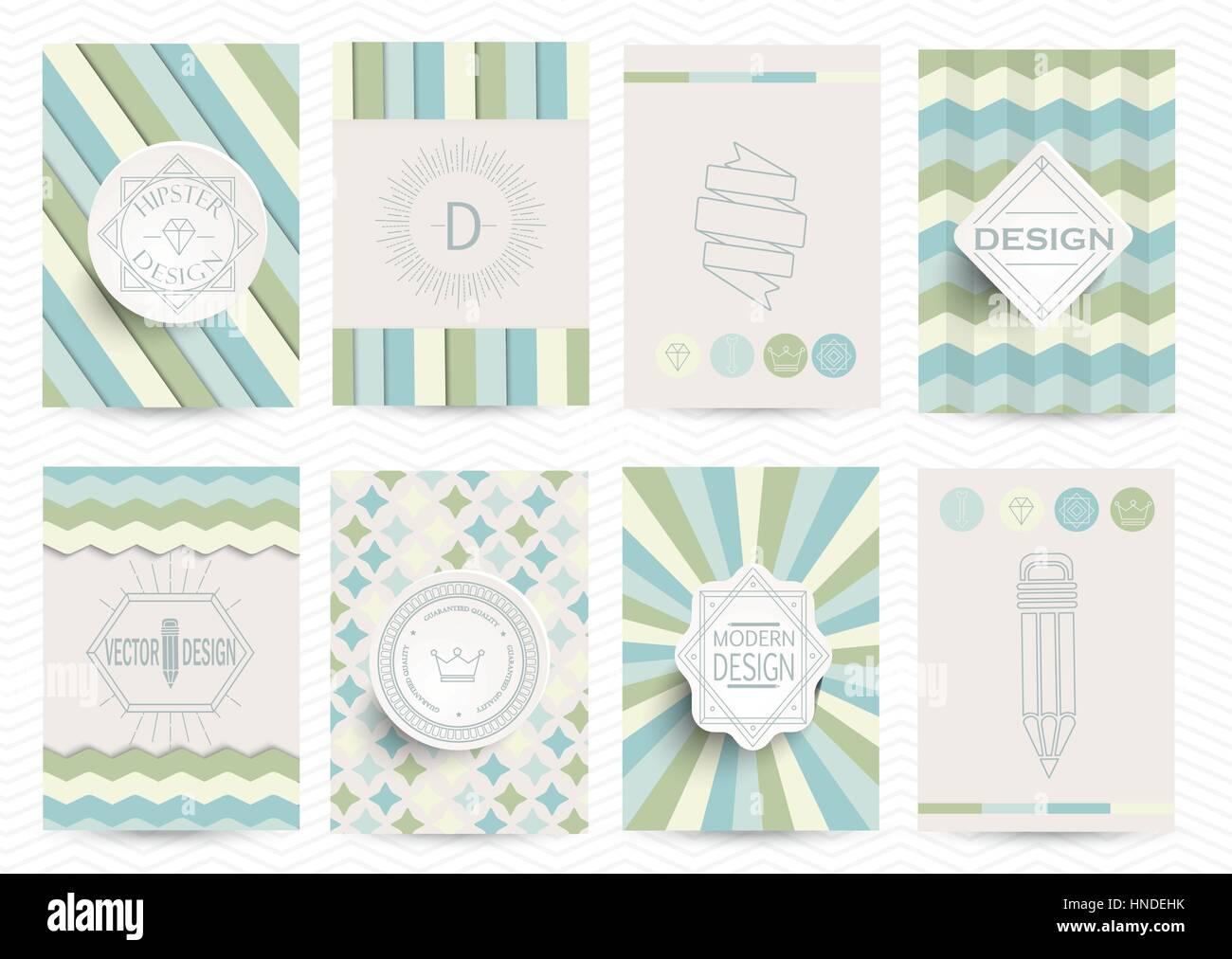 Set of Retro Insignias, Logotypes, brochures in vintage style. Vector design templates. - Stock Vector