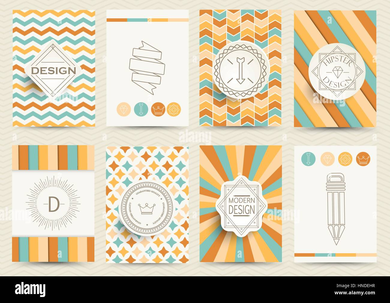 Set of Retro Insignias, Logotypes, brochures in vintage style. Design templates. Set of Business Signs and Logos, - Stock Vector