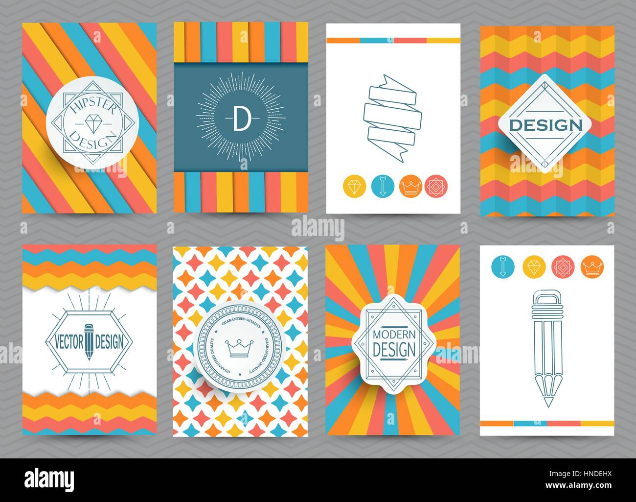 Set of Retro Insignias and Logotypes, brochures in vintage style. Vector. - Stock Vector