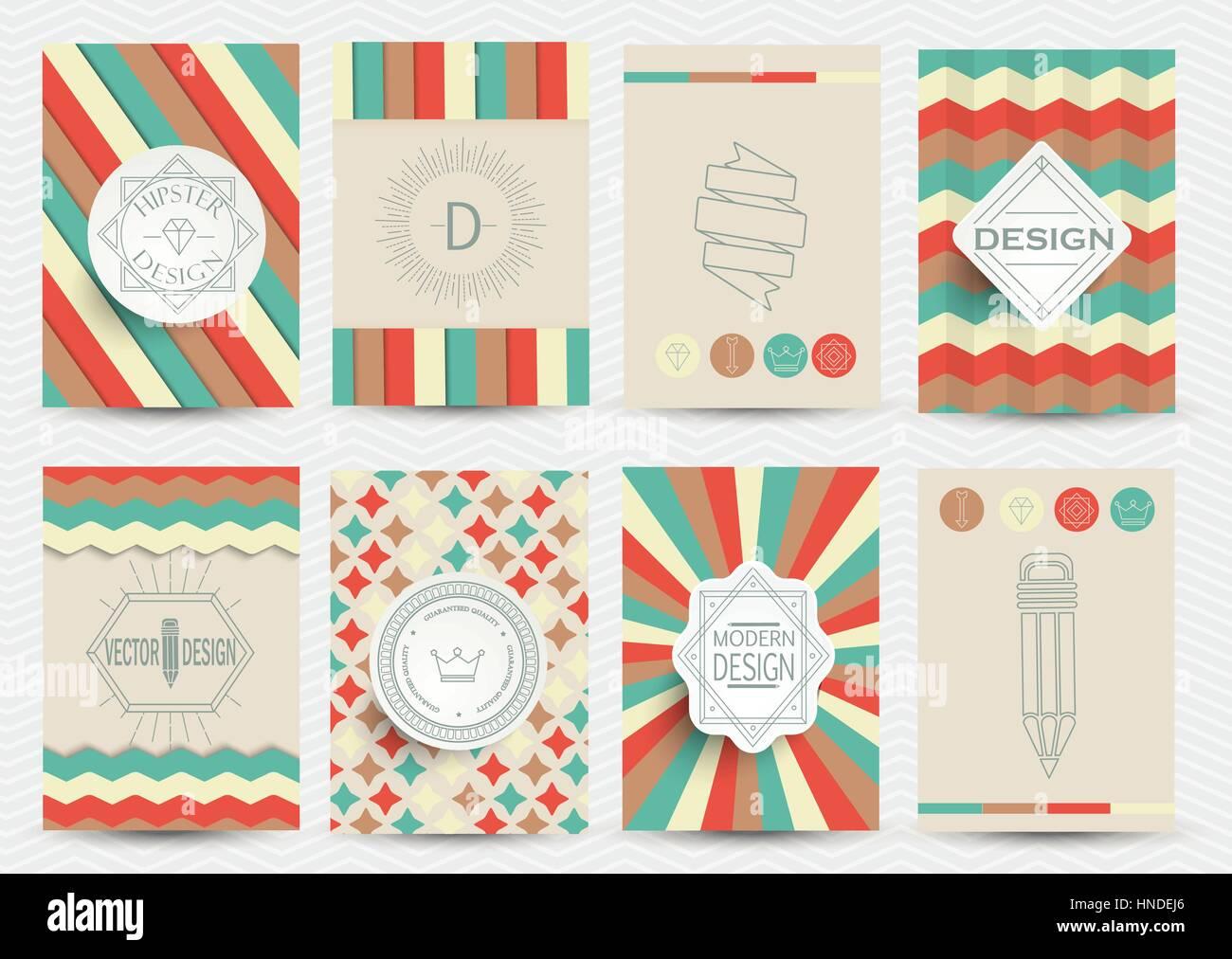 Set of Retro Insignias, Logotypes, brochures in vintage style. - Stock Vector