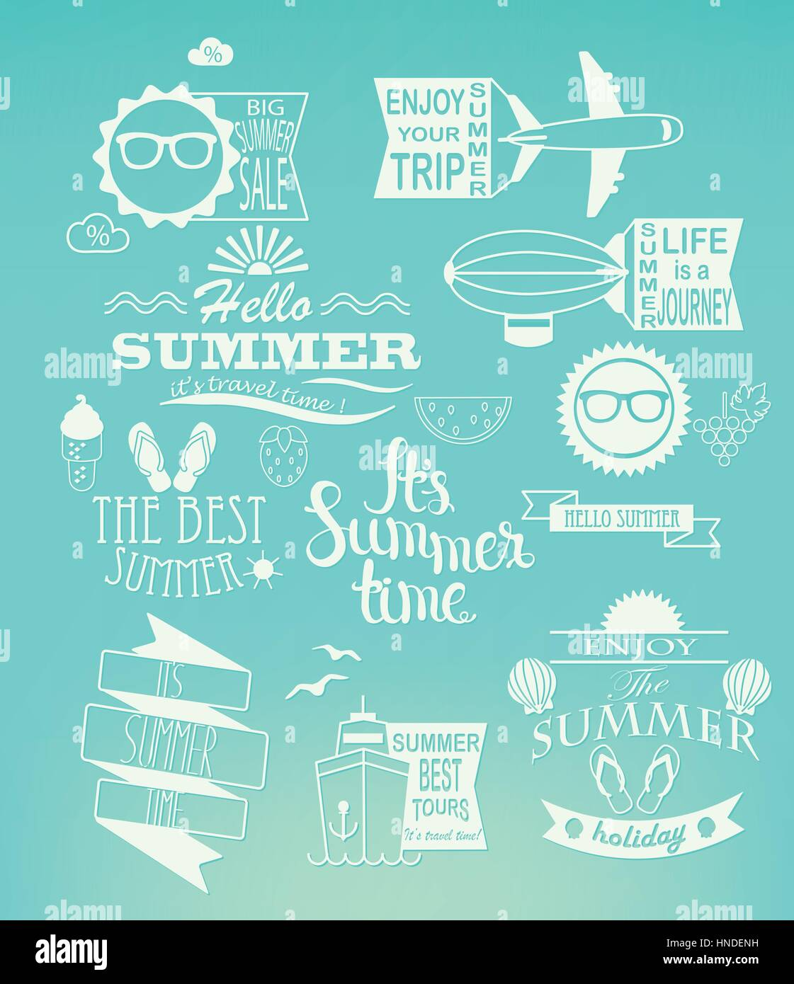 summer holidays design elements and typography set retro and vintage templates labels badges posters