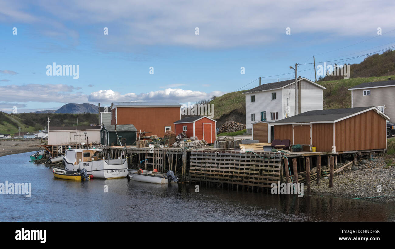 Looking inland up the river from the harbour, Trout River, Newfoundland - Stock Image
